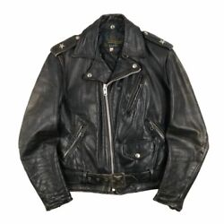 Vintage 1960and039s Schott Riders Jacket Perfect Leather Black Color Size 38
