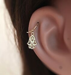 Hamsa Cartilage Earring Evil Eye Helix Ring Hand Of Fatima Protection Jewelry