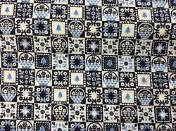 Christmas Blue Small Block Quilting Motif Cotton Fabric 1 1/2 Yards