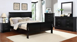 1piece Casual Design Twin Size Black Finish Sleigh Bed Bedroom Home Furniture 1p