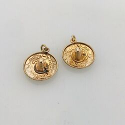 2 Two Vintage 14k Yellow Gold Sombrero Mexican Hat Pendant Charm Etching