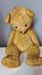 Antique Vintage Jointed Mohair Straw Teddy Bear Well Loved