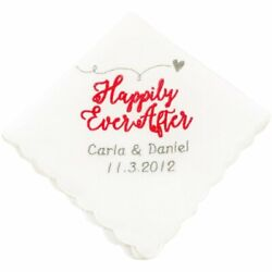Personalized Happily Ever After Wedding Handkerchief $25.99