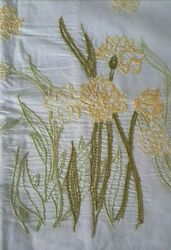 2 Vintage Antique Linen Hand Embroidered Small Pillowcases W Pale Lemon Flowers