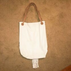 Dimon white hand bag leather drawstring Tan handle with fringe
