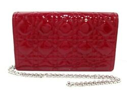 Auth ChristianDior Lady Dior S0204PVRB Red Patent Leather Other Style Wallet