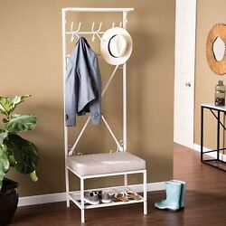Home Entryway Mudroom Living-space Coat Hats Shoes Shelves Rack Cushion Bench