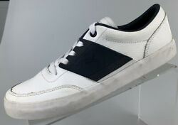 89 Skate Menand039s Size 7 M White/navy Accent Casual Athletic Sporty Shoes Euc