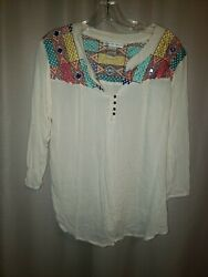 CUTE OPTIONS Women's Blouse Gauzy embroidered Peasant Boho Tunic hippie chic L $24.90