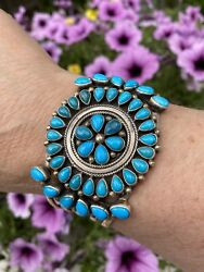 Sleeping Beauty Turquoise Cuff Native American Sterling, Navajo, Kathleen Chavez