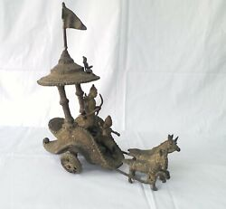 Horse Cart With Rider Antique Collectible Bronze Special Piece Arjun Chariot