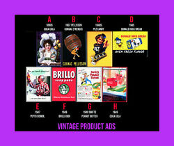 Vintage 1890s - 1940s Product Ads Mini Posters Magnet Mirror Pinback 3.5 X 2.5