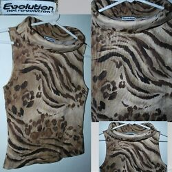 Evolution Not Revolution Womens Size S Brown And Gold Animal Print Top Preowned