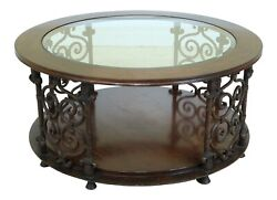F49238ec Sherrill Large Round Rustic Glass Top Coffee Table