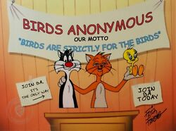 """Sylvester The Cat And Tweety Bird Sericel By Warner Brothers """"for The Birds Coa"""