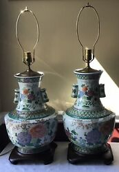 Stunning Pair Of Xl Antique Chinese Porcelain Vase Lamps, Working, No Shades