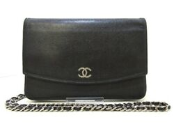 Auth CHANEL Brilliant Black Caviar Skin Other Style Wallet