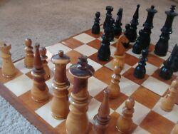 Giant Vintage Hand Made Wooden Chess Set With Board King 105 Inches