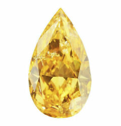 0.47 Carat Fancy Intense Orangy Yellow Diamond Gia Certified Natural Color Pear