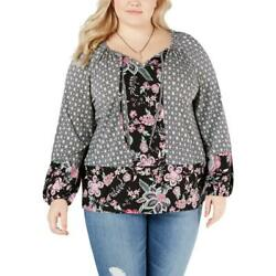 New Women Plus Style & Co Floral Floral Peasant Top Blouse Shirt 1X 10413.