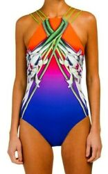 Gottex Ombre Iris Sunrise High Neck Strappy Back One Piece Swimsuit 18OI148-616