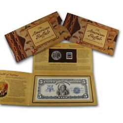 2001 American Buffalo 1 Silver Commem Coin And Currency Set