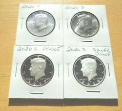 In Stock 2020 P D S S Silver And Clad Proof Kennedy Half Dollar 4 Coin Set Pdss
