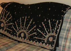 Indian Pakistani Designer Black Georgette Saree wedding party