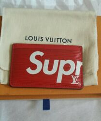 Louis Vuitton X Supreme LV Red EPI Leather CARD HOLDER 100% AUTHENTIC