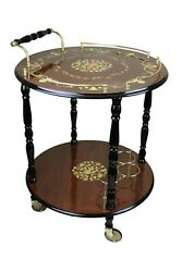Sorrento Inlaid Wood Inspired Two-tier Beverage Serving Cart And Wine Bottle Slo