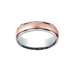 14k Two-toned 6mm Comfort-fit Wirebrush Finish Design Men's Band Ring Size 8