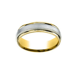 14k Two-toned 6mm Comfort-fit Satin Finish Carved Men's Band Ring Size 8