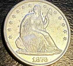 1876 - Usa Liberty Seated Half Dollar - Variety 4 - Unc. Details - 0.900 Silver