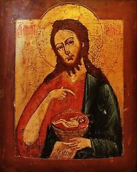 Antique Rare 19c Hand Painted Russian Icon John The Baptist