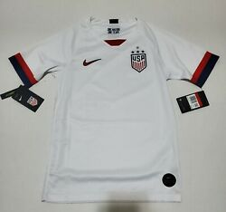 Nike Youth Usa 2019 Stadium Home White Soccer Jersey Size L
