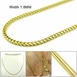 Mens Womens 14k Yellow Gold 1.8mm Diamond Cut Franco Link Chain Necklace 16-24