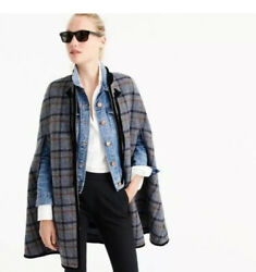 J.crew Collection Structured Blanket Wool Zipper Cape In Tartan Plaid S-m 425
