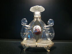 Vtg Czech Rare Clear/frosted Sitting Nudes Perfume Bottle - 5.5 W/o Dauber