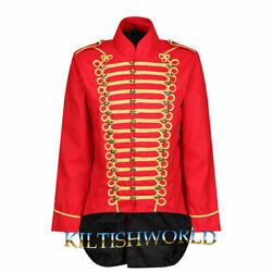 2021 New Red Men Parade Jacket Marching Drummer Festival Gothic Coat Sale