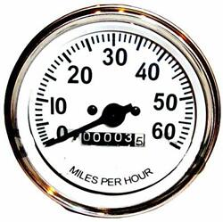 Speedometer 60 Mph Gauge Fit Willys Mb Jeep Ford Cj Gpw Chrome Bezel White Face