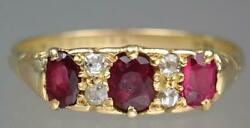 Glittering Antique Victorian 18k Gold 1ct Ruby Diamond Scrolling Ring Size 8 3/4