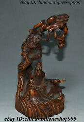 Collect Old China Boxwood Wood Hand-carved Old Taoist Priest Ox Bull Pine Statue