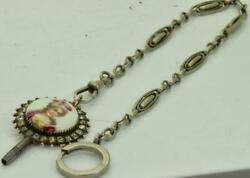 Antique 19th Victorian Painted Porcelainandsilver Key Fob And Pocket Watch Chain