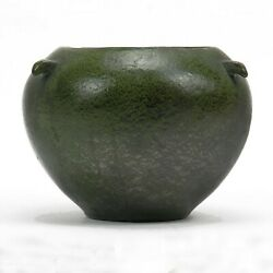 Merrimac Pottery 3 Prong Handle Vase Arts And Crafts Matte Green Feathered Glaze