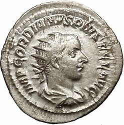 Gordian Iii 241ad Silver Ancient Roman Coin Happiness Cult Anchor Hope I52141