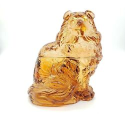 Amber Glass Collie Dog Shaped Covered Candy Dish. 7 Tall X 5-5/8wide At The B
