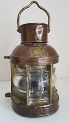 Antique Improved Combination Launch Lamp Ship Lantern Copper And Brass