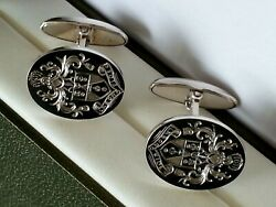 Full Coat Of Arms Hand Engraved Heavy Sterling Silver Cufflinks Hallmarked