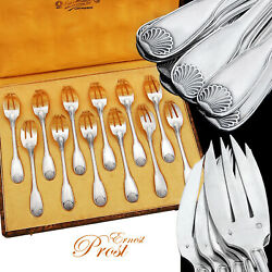 French Sterling Silver 12pc Oyster/dessert Fork Set - Shell Pattern