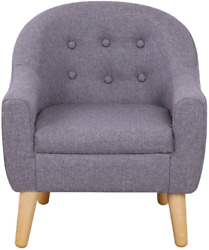 Kids Sofa Linen Fabric Upholstered Baby Sofa Chair With Plastic Legs For Gift
